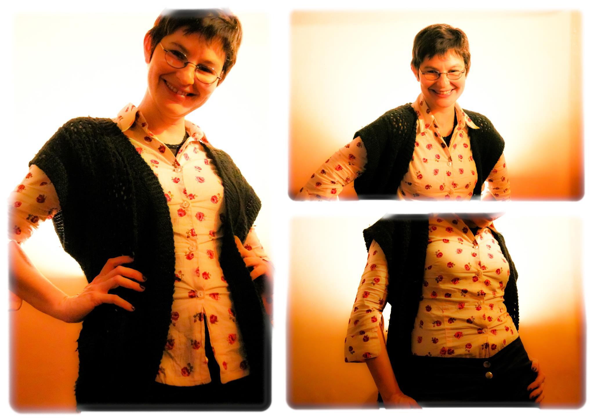 Todas las prendas disponibles Camisa floreada Graciela Campomar Talle S Pantalón de raso Paula y Agustina Ricci Talle 38 Chaleco de lana negro